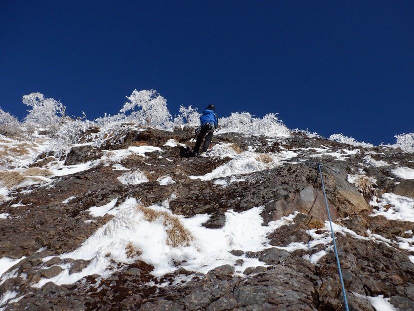2020年1月11日 南八ヶ岳石尊稜1P目
